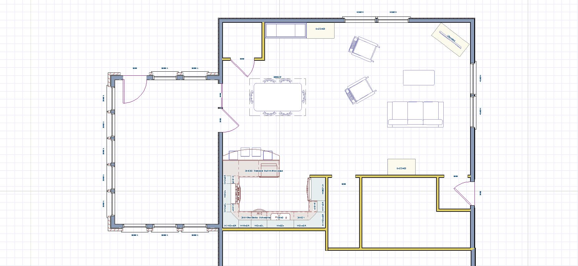 Here Is The Floor Plan After Separating Walls Were Removed Kitchen Floorplan