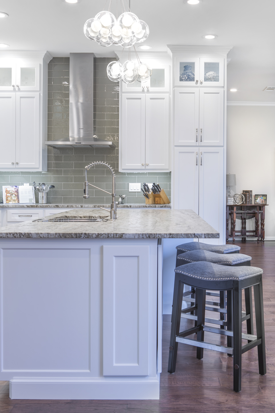 Beautiful kitchen remodel with island seating.