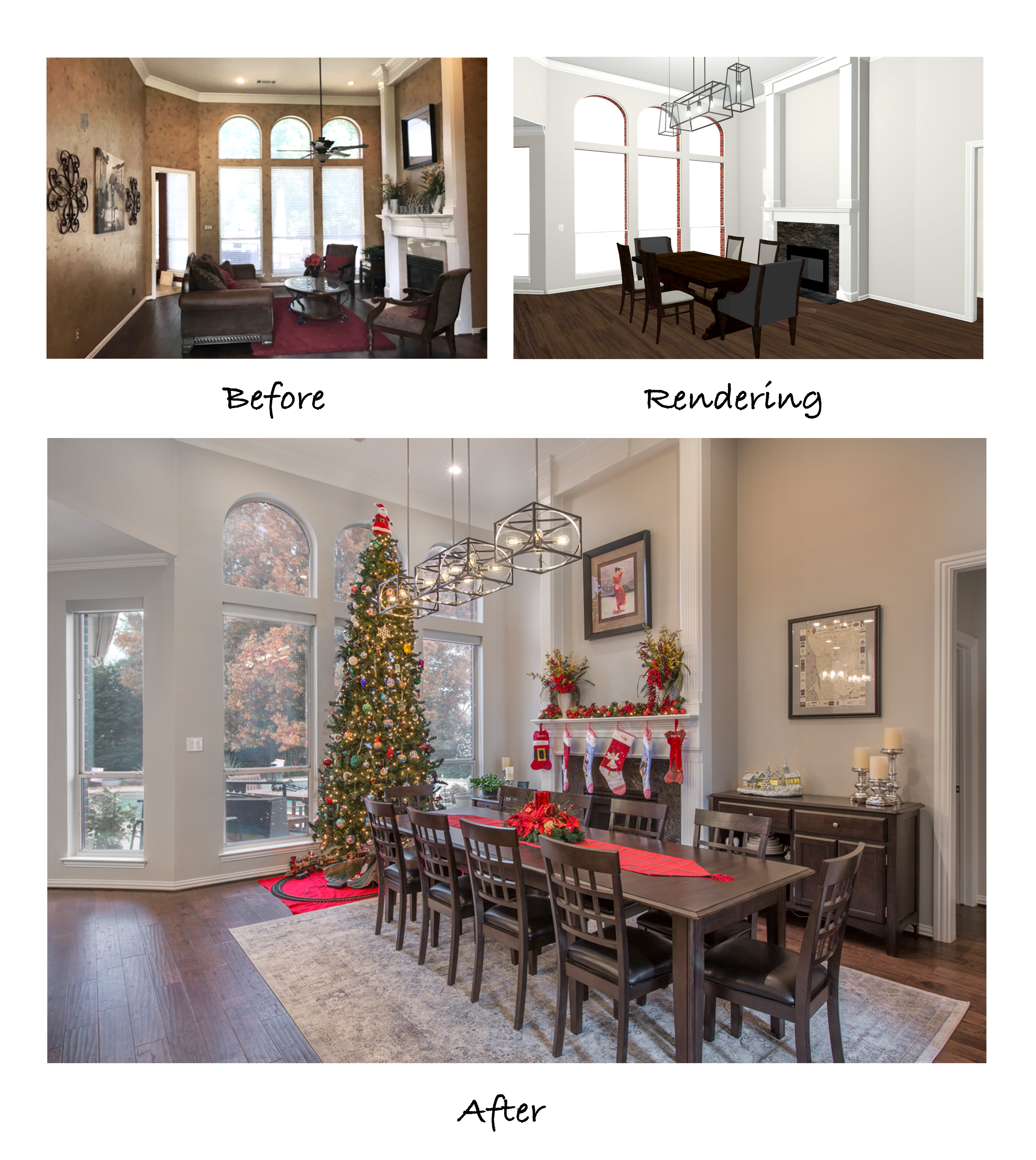 Photo of the formal living room before remodeling, a 3-D rendering of the proposed changes, and the final shot of the remodeled room.