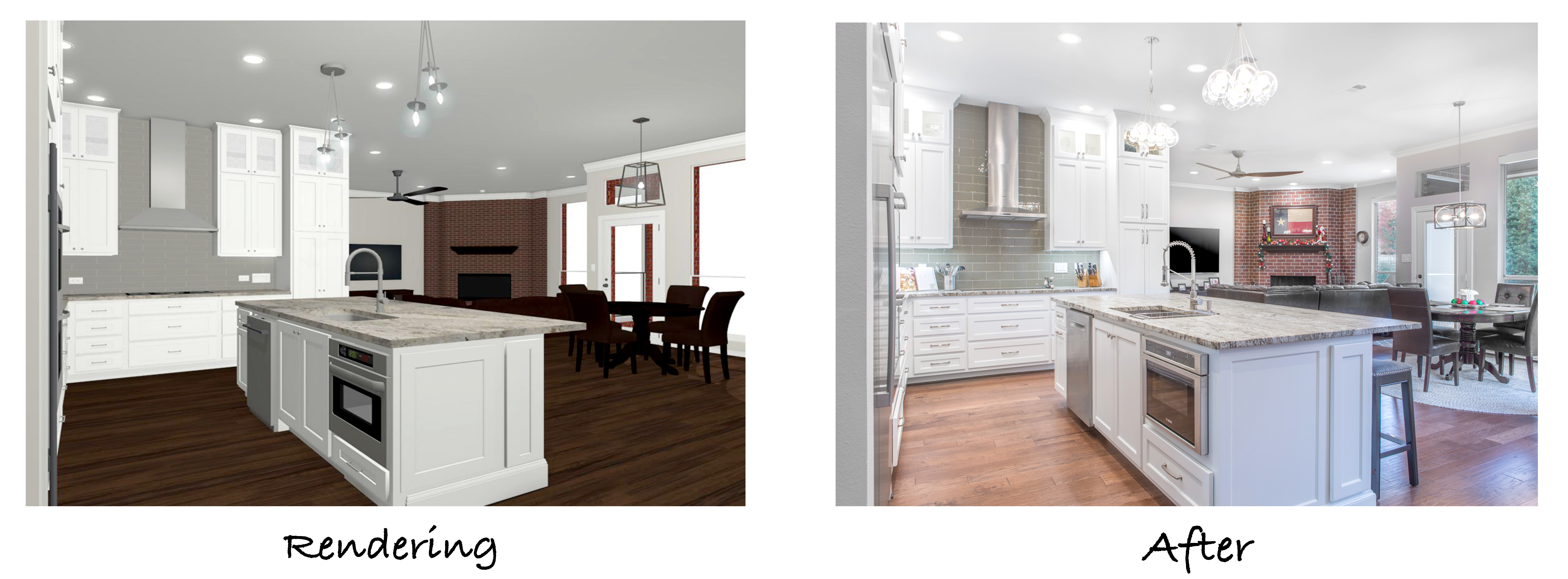 A 3-D rendering of the proposed changes for the kitchen and the final photo of the remodeled kitchen.
