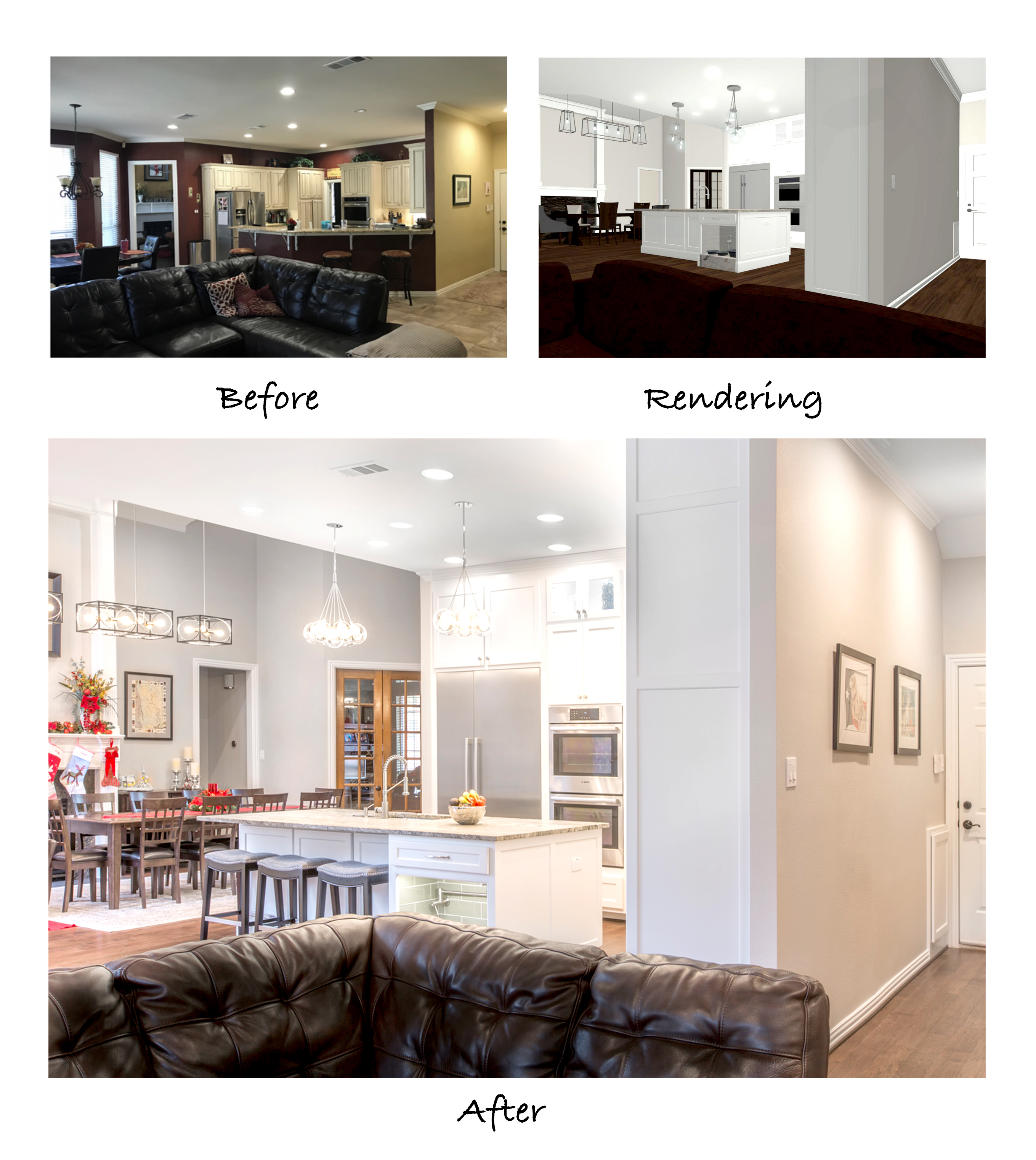 Photo of the kitchen before remodeling, a 3-D rendering of the proposed changes, and the final shot of the remodeled kitchen.