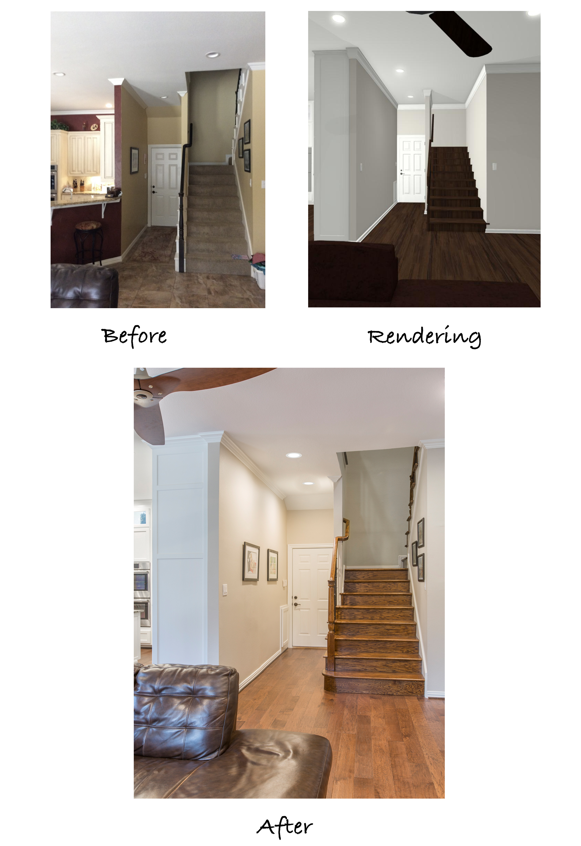 before and after photos of staircase remodel.