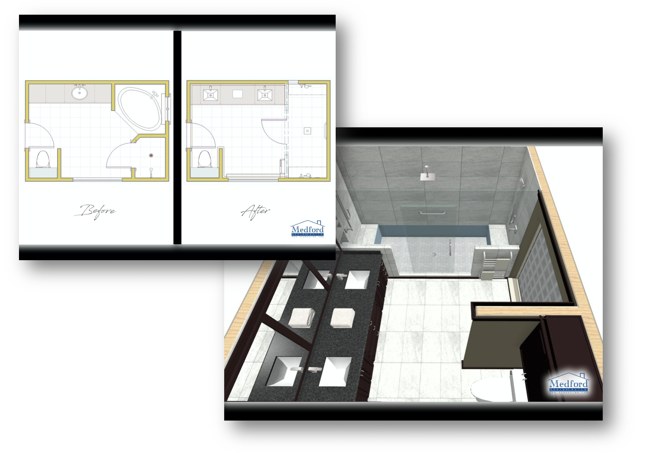 Bathroom remodel floor plans and 3D renderings