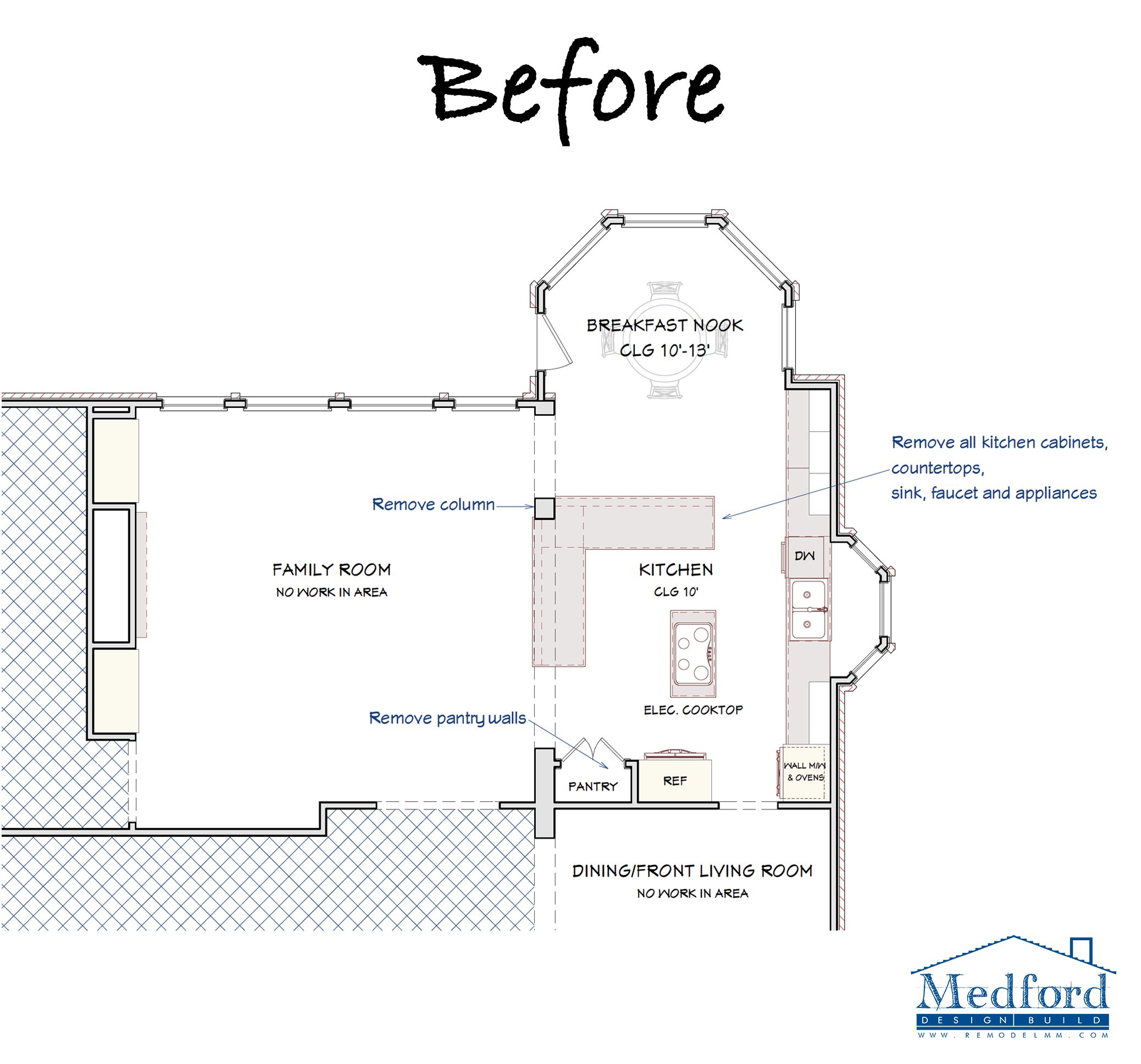 Kitchen remodel floor plan before