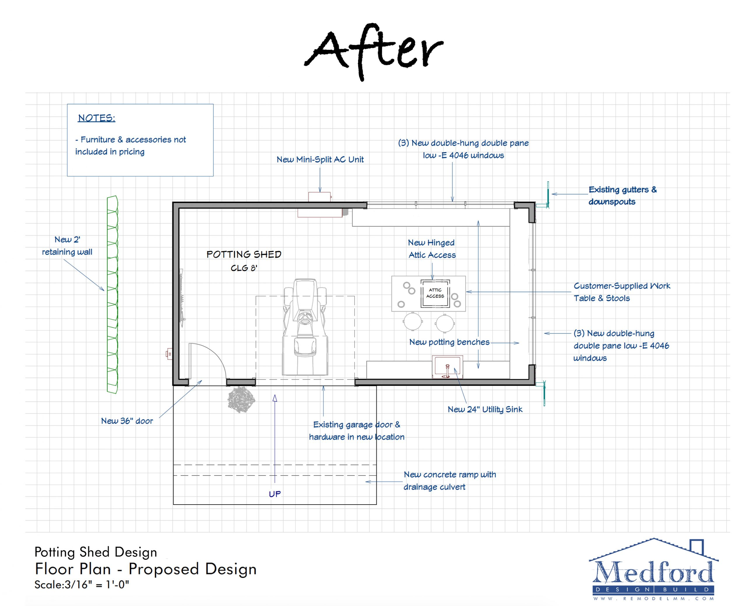 storage shed transformation - floor plan after