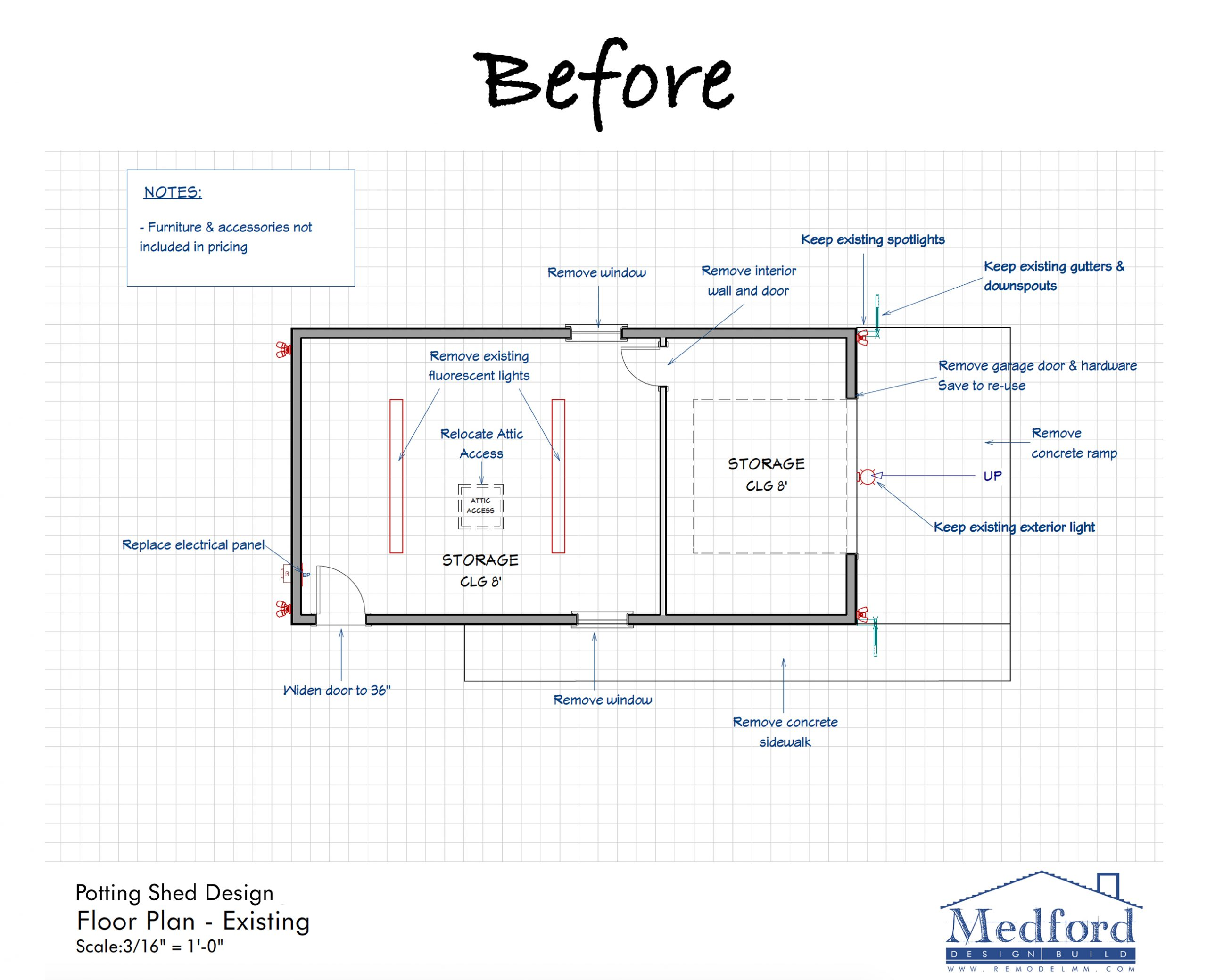 storage shed transformation - floor plan before